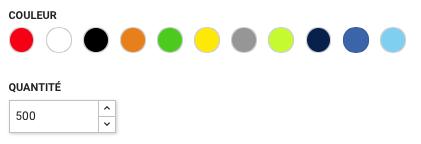 Choix de la couleur et de la quantité