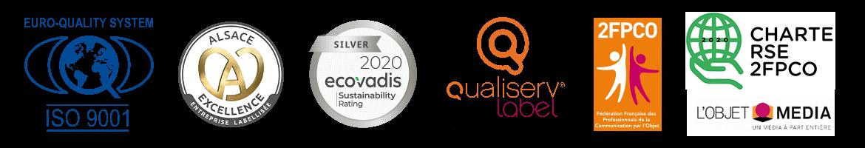 Certificications Alsace Excellence, Label Ecovadis - Acesia - Label Qualiserv par Manrique Oppermann