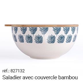 Saladier avec couvercle bambou
